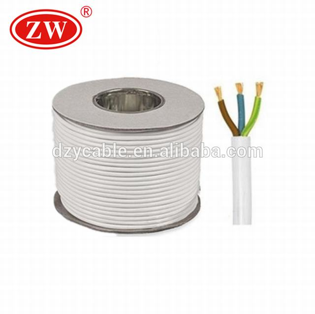 3 Core 13 Amp White Round Main Electrical Wire Cable