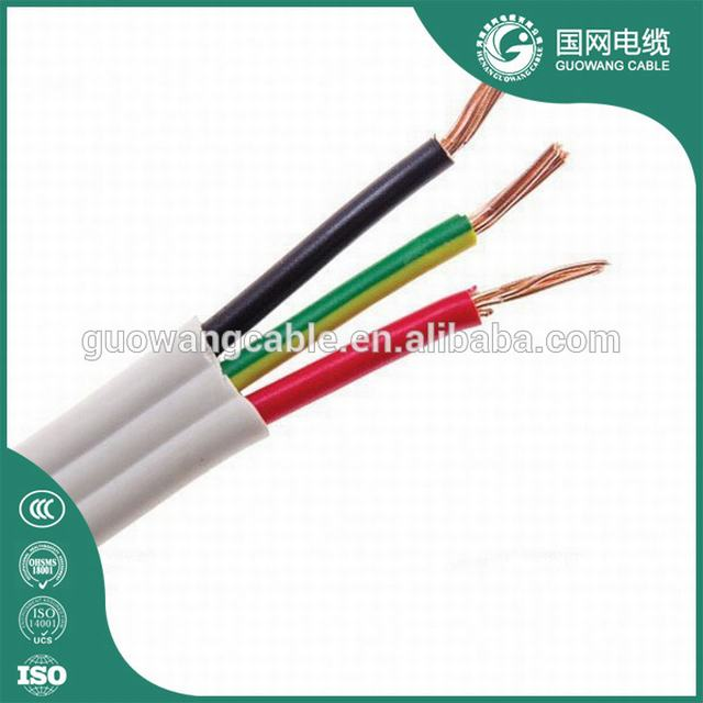 Flat Submersible Pump Cable 2.5mm PVC Insulation Copper Wire Twin and Earth Cable 3*1.5MM2 2.5mm2 House Wiring Electrical Cable