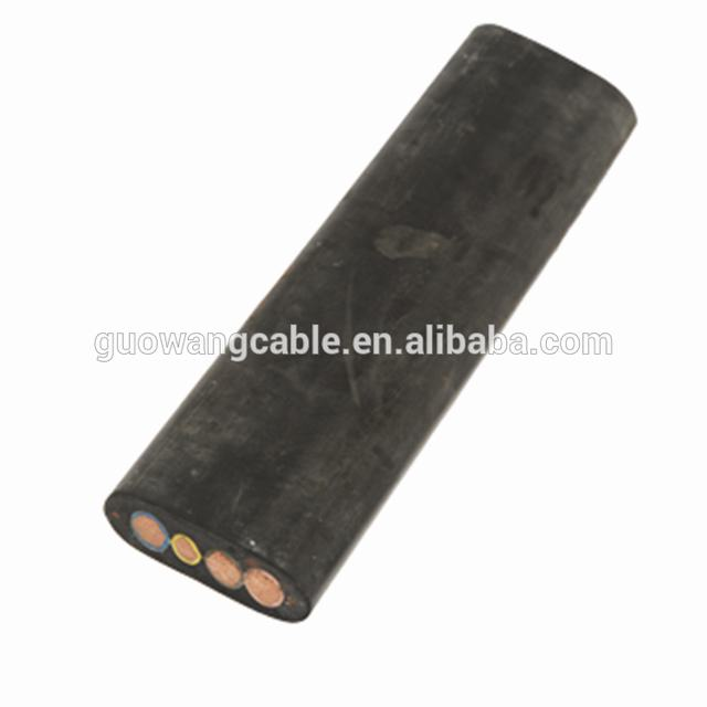 Flat rubber cable 3 cores rubber jacket suitable for high temperature